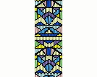 Geometric 5 Peyote Bead Pattern, Pastel Multi Color, Bracelet Cuff, Seed Beading Pattern Miyuki Delica Size 11 Beads - PDF Instant Download