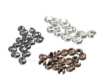300pcs 5mm   Crimp Cover Beads, Stopper Cover Bead Silver/Stainless Steel/Gold/Bronze Color Stopper Covers Jewelry Making Supplies DIY