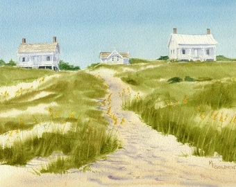 Captain Charlies beach cottage print from watercolor painting