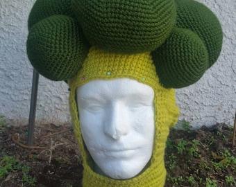 Crochet broccoli hat/mask, head piece, vegetable hat