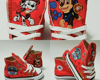 Paw Patrol Birthday, Pawpatrol Converse Shoes, red chucks, marshall, chase, ryder,rubble, party outfit, cotton fabric by hallwayzdesigns