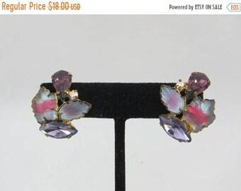 ON SALE West Germany Gold Tone Frosted Glass Purple Navette Purple Teardrop Aurora Borealis Rhinestone Clip On Earrings