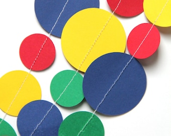 Primary Color paper circle garland (15 feet) - READY TO SHIP