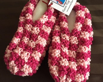 New Phentex HAND KNIT SLIPPERS Women's  Pink Size 6-7 8 nwt 100% Canadian Made