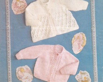 "PDF Knitting Pattern Vintage Baby Matinee Coat/Cardigan to fit sizes 18-20"" 3 to 12 months DK/8ply (SD245)"