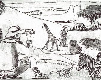 Namibia-... let's go to the desert! -Farm-nature-landscape-zebra-elephant-balloon-Original-color-etching-print-engraving-unique