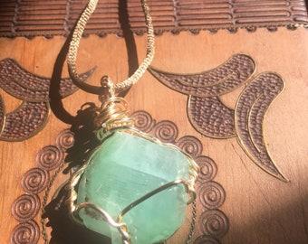 Raw Green Calcite