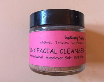PINK FACIAL CLEANSER -  Facial Scrub, Drawing Cleanser, Soapless Cleanser, Natural Cleanser, Toning Cleanser