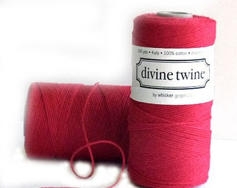 Red Baker's Twine, Divine, 240 Yards, 720 Feet, Solid