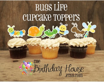 Bug Party - Set of 12 Bug's Life Double Sided Assorted Cupcake Toppers by The Birthday House