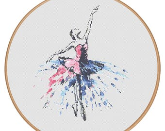 MORE for FREE - Ballet in colors - Counted Cross stitch pattern PDF - Instant Download - Cross Stitch Pattern -Dance-Love- Needlepoint #1304