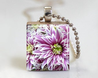 Purple Flower Spring Summer Blossom - Scrabble Tile Pendant - Free Ball Chain Necklace or Key Ring