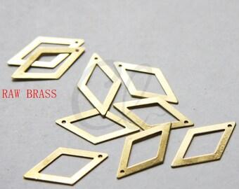 30 Pieces Raw Brass Rhombus Charm - 26x14mm (3030C-W-165)