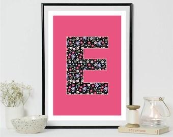 E Alphabet A4 Print Digital Print