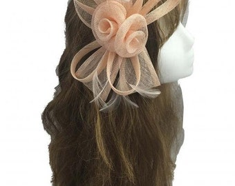 Champagne Sinamay Bow and Feathers Hair Fascinator With Headband n Clip