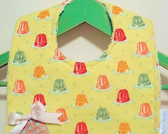 Retro Jello Jiggle Molds - Minky Baby Bib