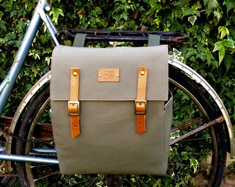 Green safari canvas and leather pannier/bicycle messenger/backpack pannier/ bicycle pannier/bicycle accessories/bicycle bag