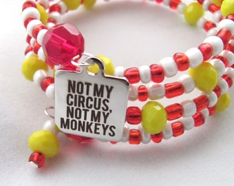 Not My Circus Not My Monkeys Circus Bracelet Striped Bracelet Red Bracelet One Size Fits Most Memory Wire Bracelet Gift Idea for Girlfriends