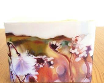 "resined print of original painting""diaspora"", 3x4"", landscape, prairies, seed, macro, spring flower, botanical, grasses, wildflowers, resin"