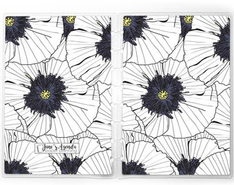 White Poppies Planner Cover for use with Erin Condren Lifeplanners™, Staples® Arc, The Happy Planner™, and TUL™