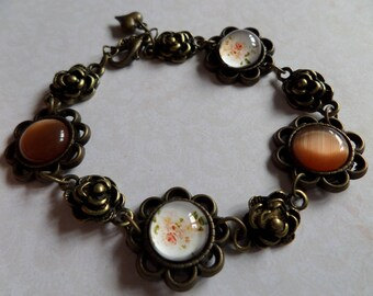 Retro bronze antique orange cabochon