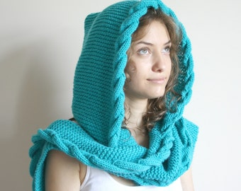 Turquoise  Wool Hooded Cabled  Long Scarf  Cowl  Under USD100