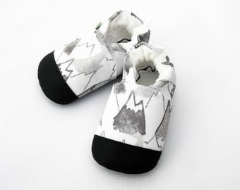 Eco-Canvas Vegan Mountains in Grey / non-slip soft sole shoes / made to order / babies toddlers preschool