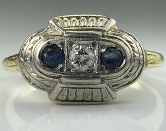 Vintage Sapphire and Diamond Ring. 14K Gold Art Deco. Unique Engagement Ring. September Birthstone. 5th Anniversary Gift. Estate Jewelry