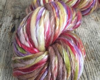 Handspun merino, multicolored, tencel, soft, bulky, thick n thin,felting, weaving, freeform fibre art,ilovepinkgeraniums