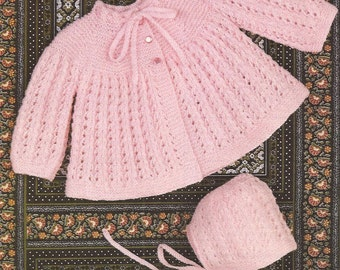 "PDF Vintage Knitting Pattern Baby Matinee Coat and Bonnet sizes 18-20"" (Z229)"