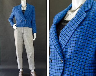 Vintage 80s Pendleton Blazer, Cropped Blue Plaid Blazer, 80s Pendleton Wool Blazer, Preppy Fitted Plaid Blazer, Women's Size Petite 10