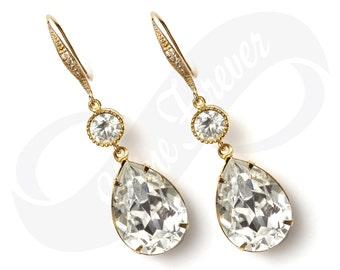Gold Bridesmaid Jewlery Bridesmaid Swarovski Crystal Gold Earrings Bridal Earring Bridesmaid Gold Jewelry Gold Drop Earring Wedding Jewelry