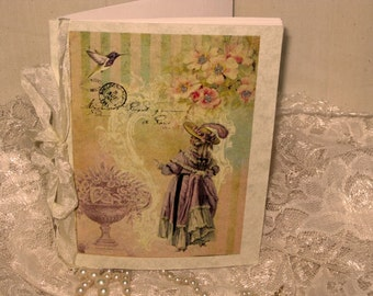 Vintage French Design Handmade Journal Cahier Adorned with Bling on Parchment French Romance ECS