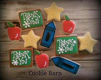 Teacher Cookies - Teacher Appreciation Cookies - School Cookies - Education Mini Decorated Sugar Cookies