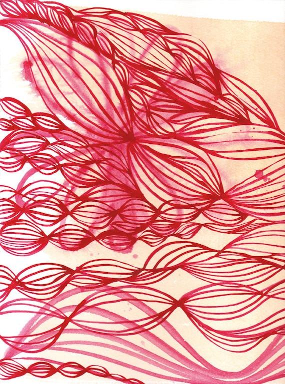 Pink Ink Swirl Wall art print - watercolour illustration