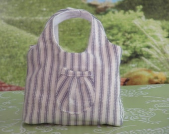 Blue and White Ticking Summer Bag for 18 Inch Dolls