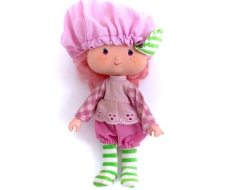 Vintage Strawberry Shortcake Raspberry Tart Doll Rhubarb Monkey Near Complete Dress Stockings Hat Tights Retro 80s 1980s Original Classic