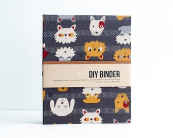 Binder Planner 6x8 (A5 sized) 2-Ring Folder with 2 FREE Refill Packs - Cats & Dogs