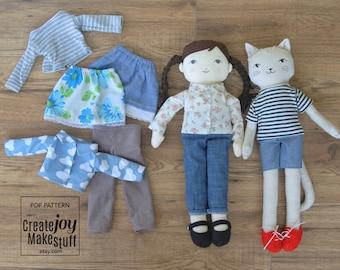"For 18"" Doll & Cat - Clothing Basics Sewing Pattern - Pants - Shirt - Skirt - Shoes - Dress up - Rag doll"