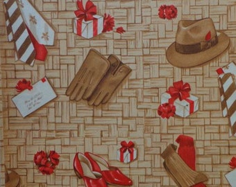 Vintage 1940s Gift Wrap All Occasion Wrapping Paper 1 Sheet & 4 Stickers--Dad's Ties