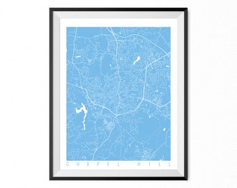 CHAPEL HILL Map Art Print / North Carolina Poster / Chapel Hill Wall Art Decor / Choose Size and Color
