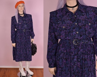 80s Paisley Floral Secretary Dress/ US 16/ 1980s