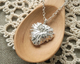 Apple Scented Geranium Leaf Pendant Necklace - Pure Silver Real Leaf Pendant, Herb Jewelry, Gift for her