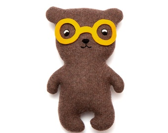 Bob the Bear Knitted Lambswool Soft Toy Plush - Made to order