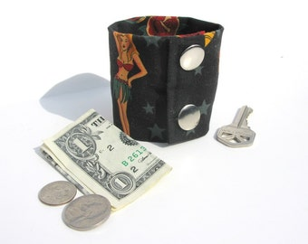 Secret Stash Wrist Wallet  Money Cuff - Gothic - hide your cash, coins, key, jewels, in a secret inside zipper...