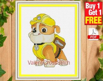 Paw PATROL Cross Stitch Pattern, Cartoon cross stitch, pattern, patterns, Rubble, English Bulldog, Pups, pup, #sp 264