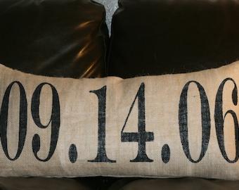 Burlap Pillow, Date Pillow, Decorative Pillow, 12x24 Lumbar Pillow, Personalized Pillow, Custom Pillow, Gift Pillow, Wedding, Birthday