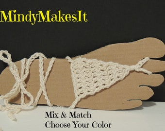 Barefoot Sandals, Ombre Colors (flip flops, Crochet, Beach, footwear, summer sandals, wedding) MindyMakesIt