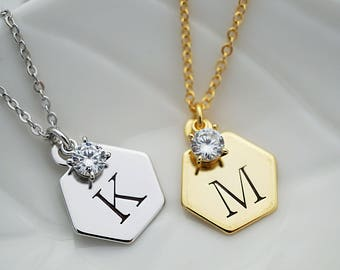 Hexagon Personalized Necklace with cubic zirconia Initial Necklace Bridesmaid Gift Dainty charm necklace Bridesmaid necklace gift for her