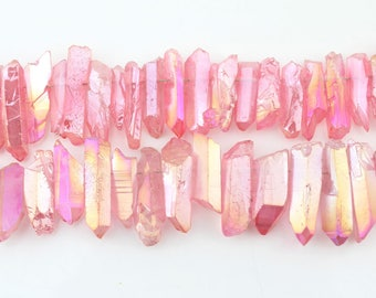 Pink quartz points Silver Crystal point Beads Titanium Metallic Quartz Stick beads supplies Wholesale -  - NS211